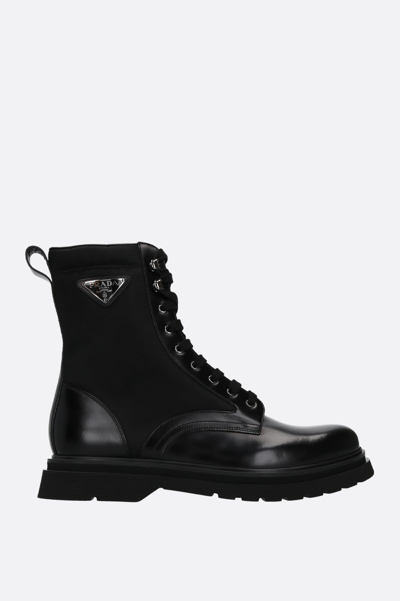 PRADA: brushed leather and nylon combat boots Color Black_1