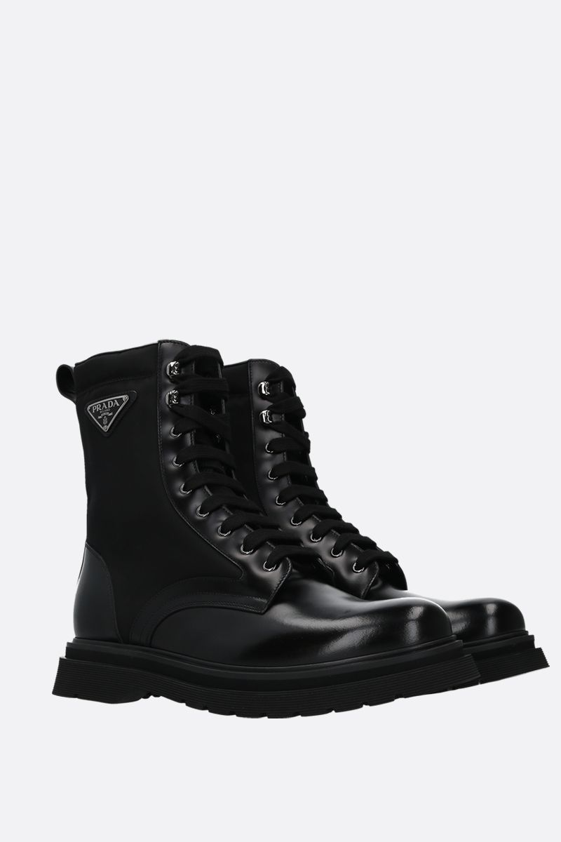 PRADA: brushed calf and nylon combat boots Color Black_2