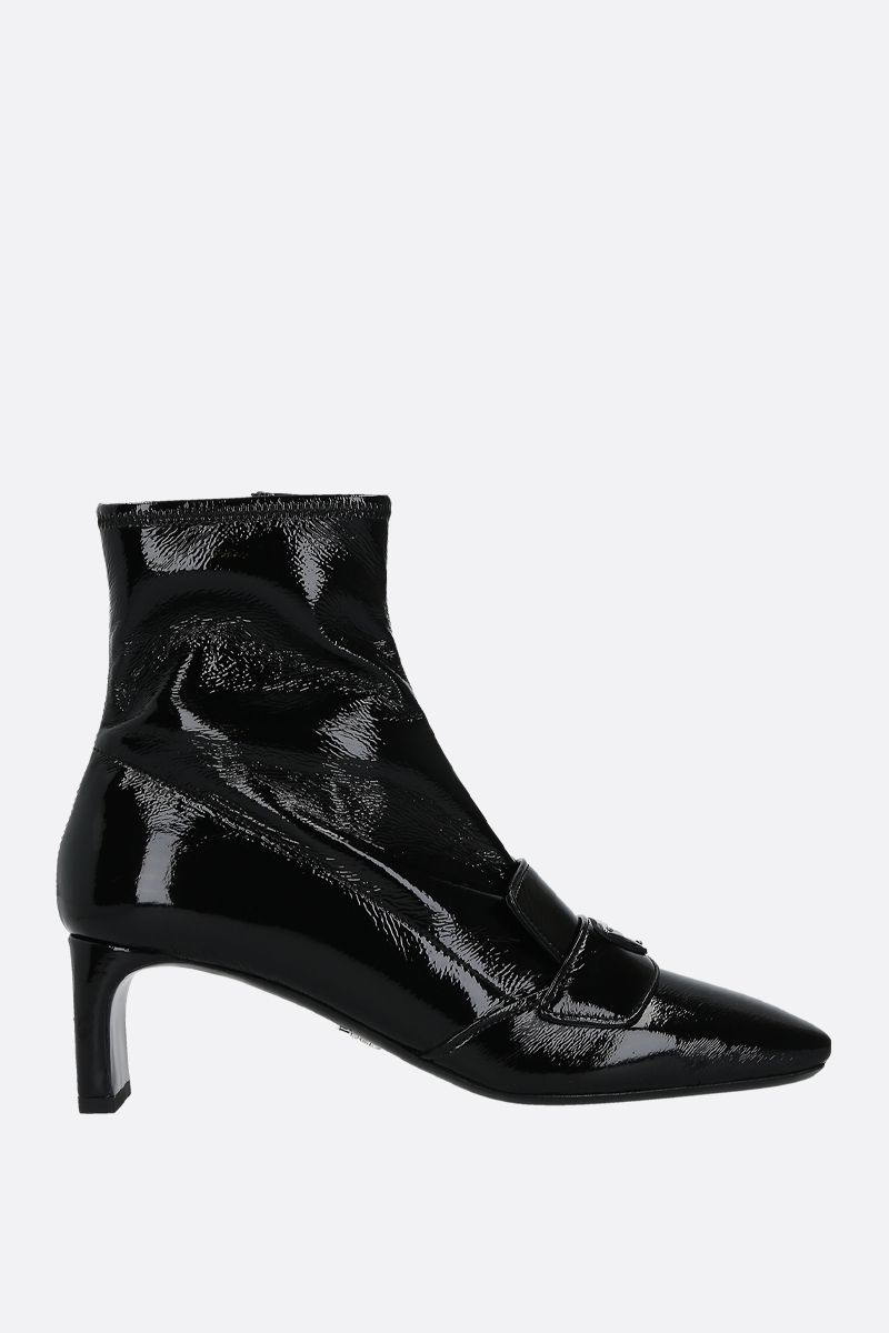 PRADA: logo-detailed naplak ankle boots Color Black_1
