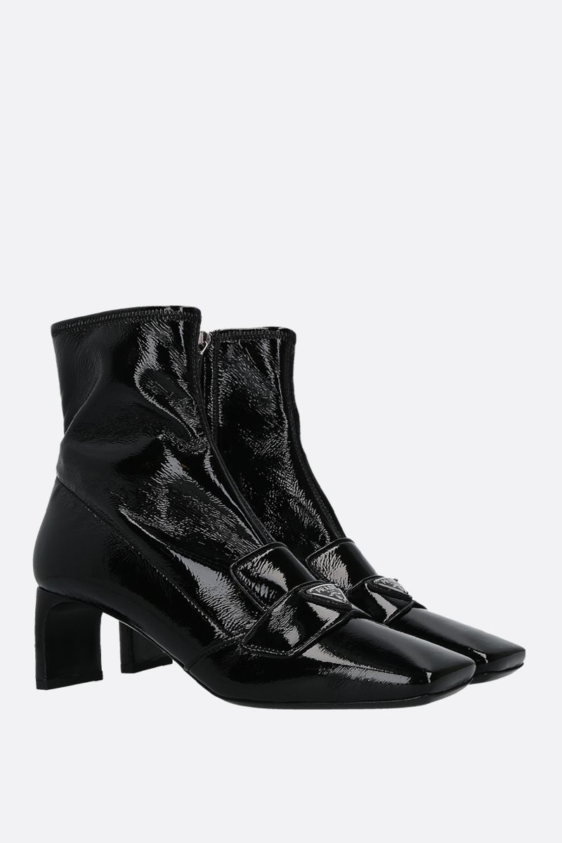 PRADA: logo-detailed naplak ankle boots Color Black_2