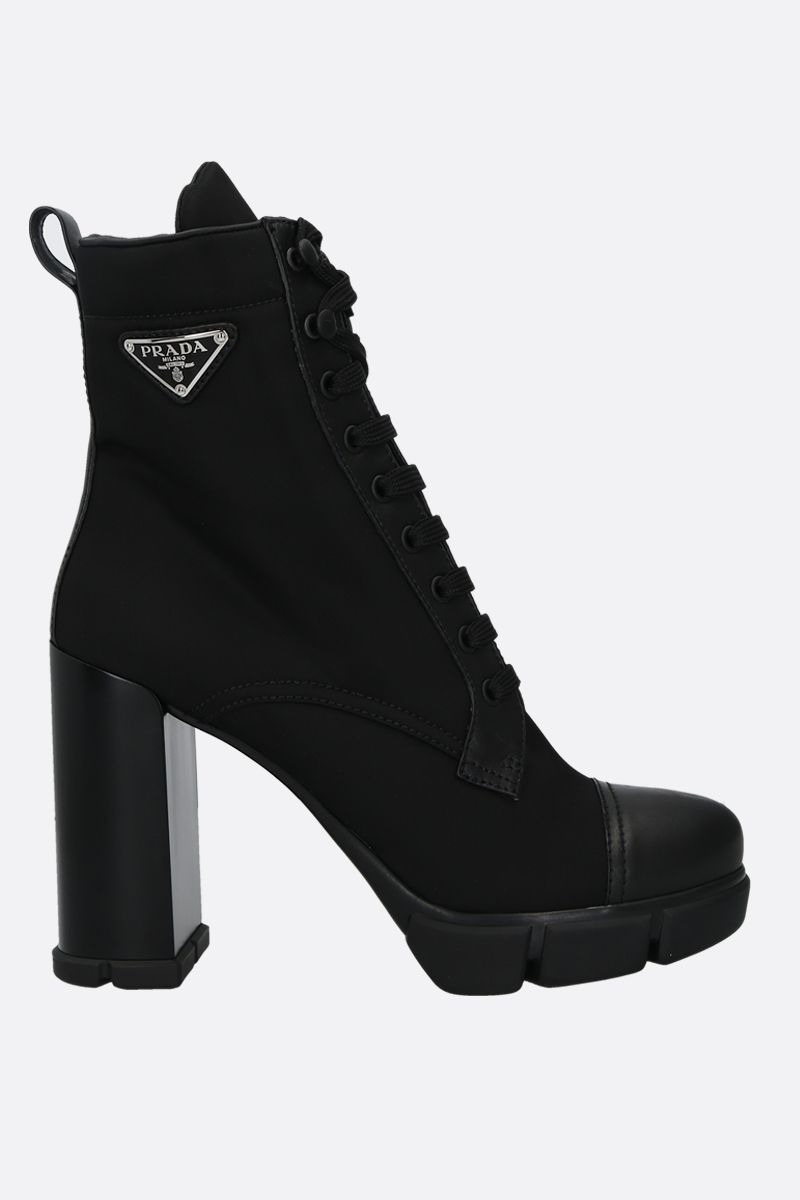 PRADA: nylon and smooth leather lace-up booties Color Black_1
