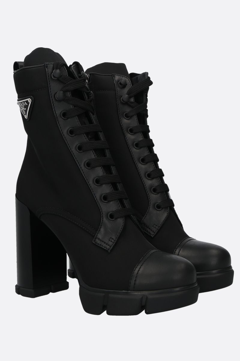 PRADA: nylon and smooth leather lace-up booties Color Black_2