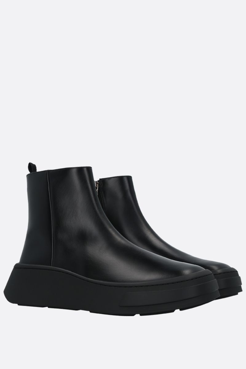 PRADA: Rois brushed leather ankle boots Color Black_2