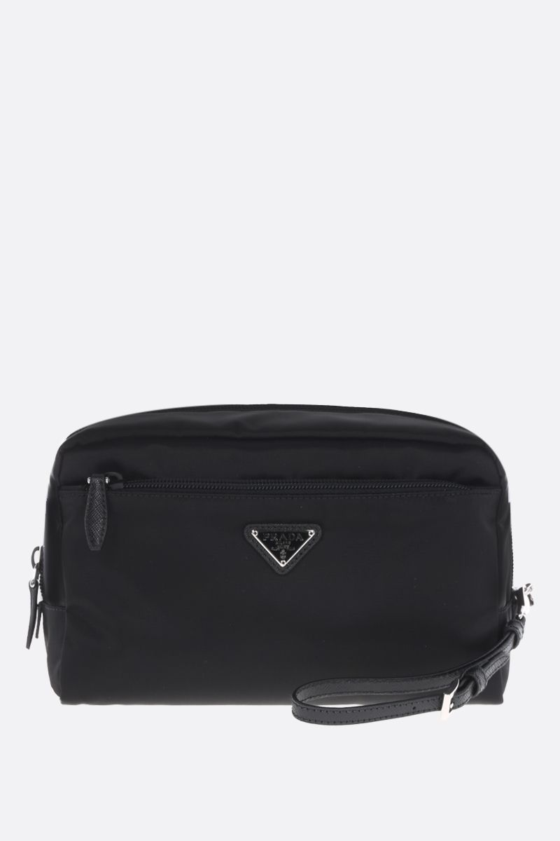 PRADA: beauty case in nylon con logo Colore Nero_1