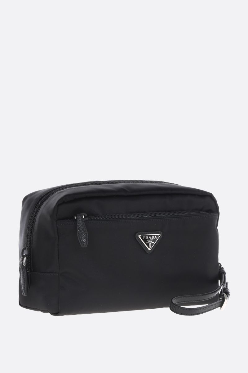 PRADA: beauty case in nylon con logo Colore Nero_2