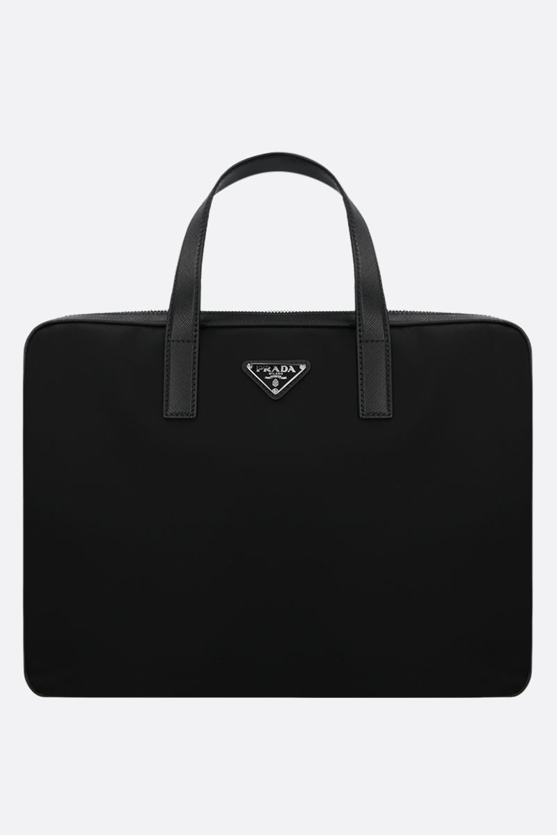 PRADA: nylon and Saffiano leather business bag Color Black_1