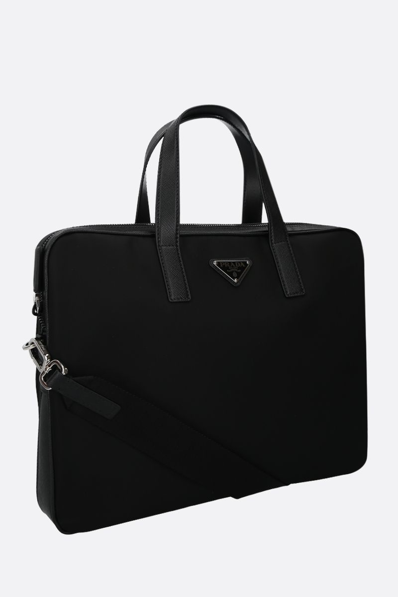 PRADA: nylon and Saffiano leather business bag Color Black_2