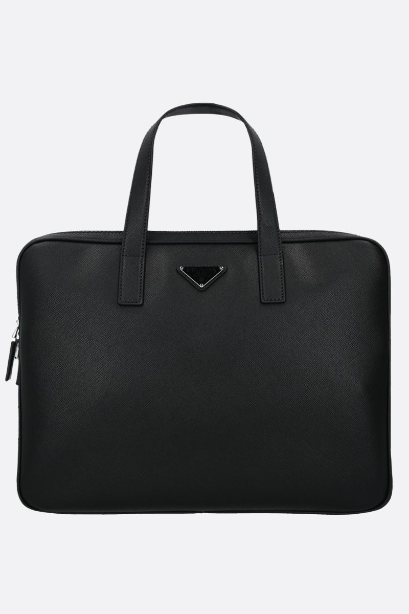 PRADA: Saffiano leather business bag Color Black_1