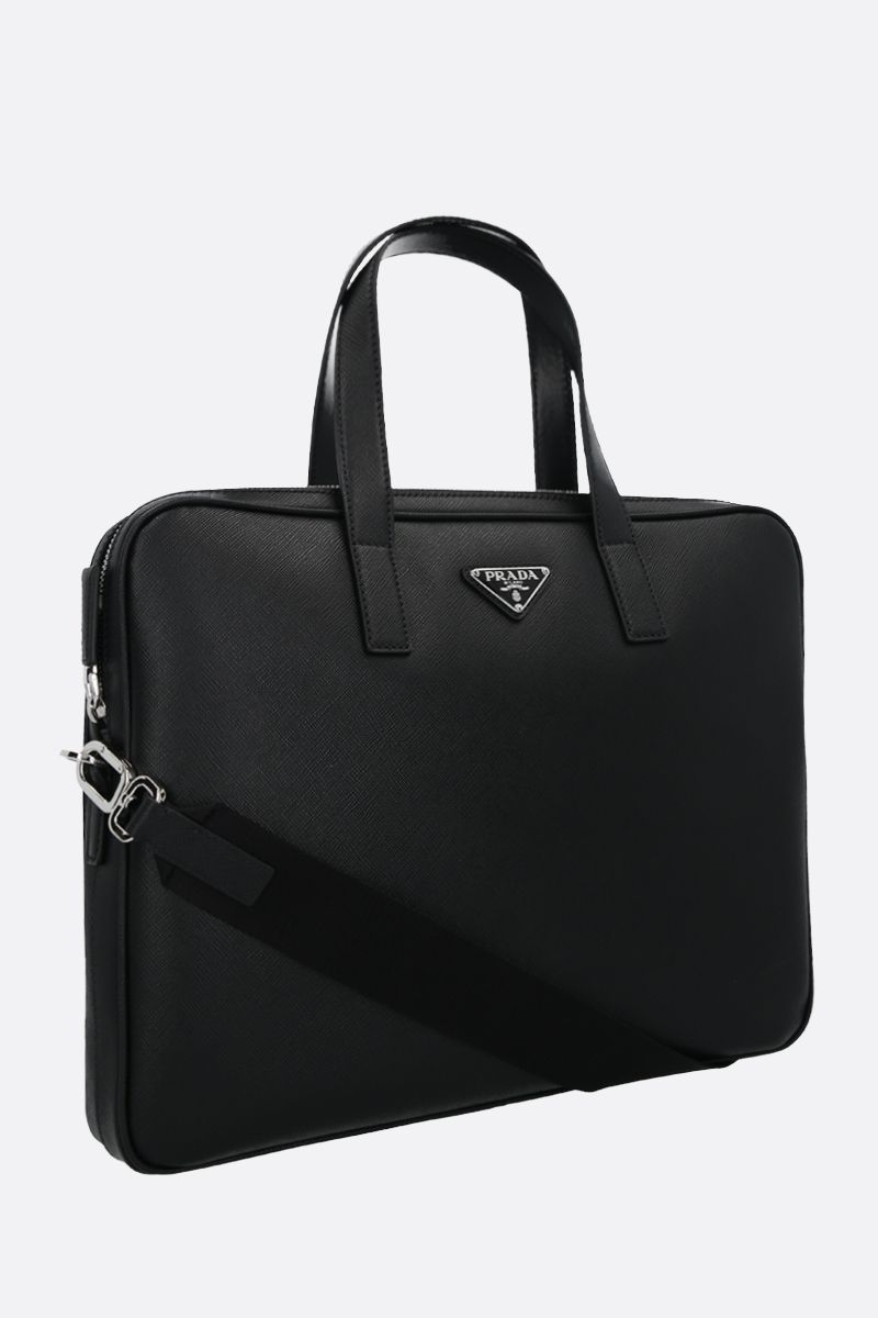 PRADA: Saffiano leather business bag Color Black_2