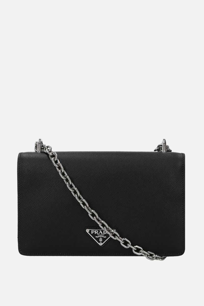 PRADA: Saffiano leather and nylon shoulder bag Color Black_1