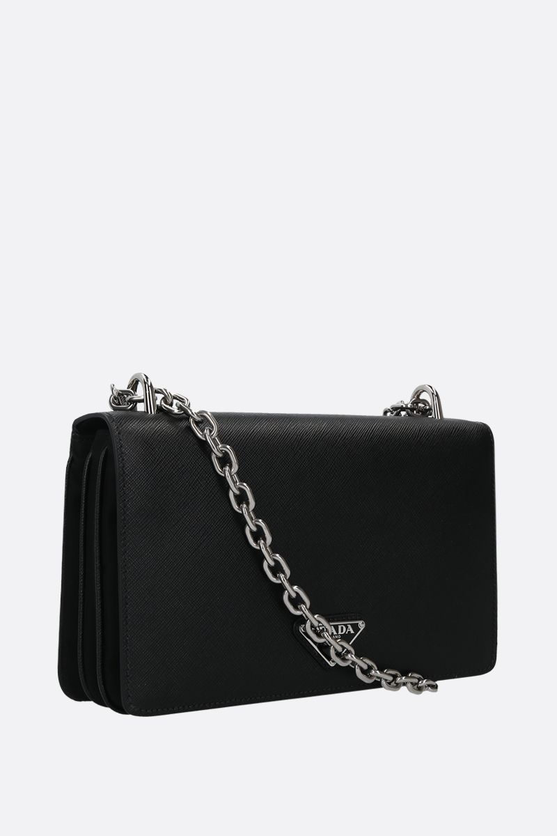PRADA: Saffiano leather and nylon shoulder bag Color Black_2