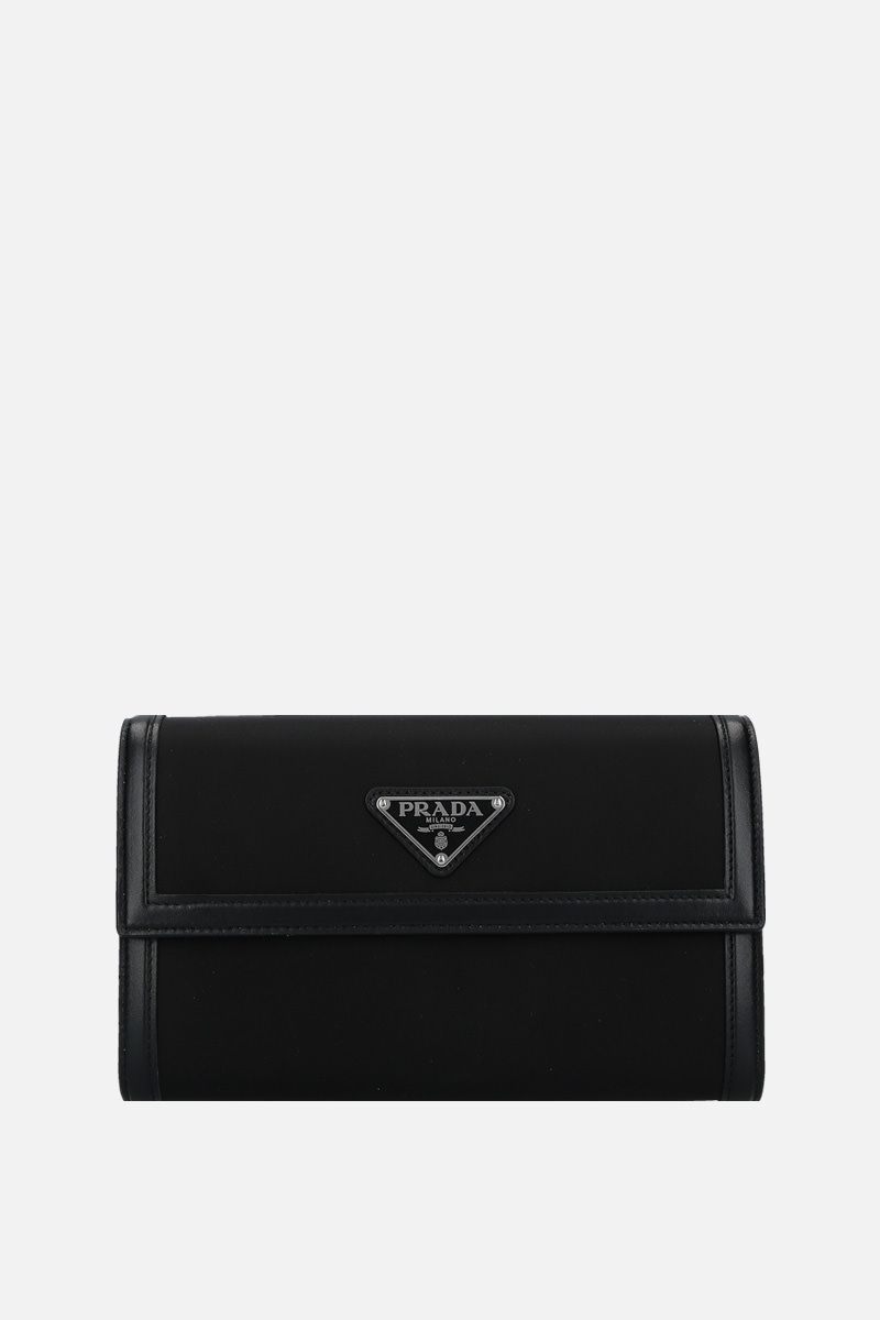 PRADA: nylon and smooth leather strap wallet Color Black_1