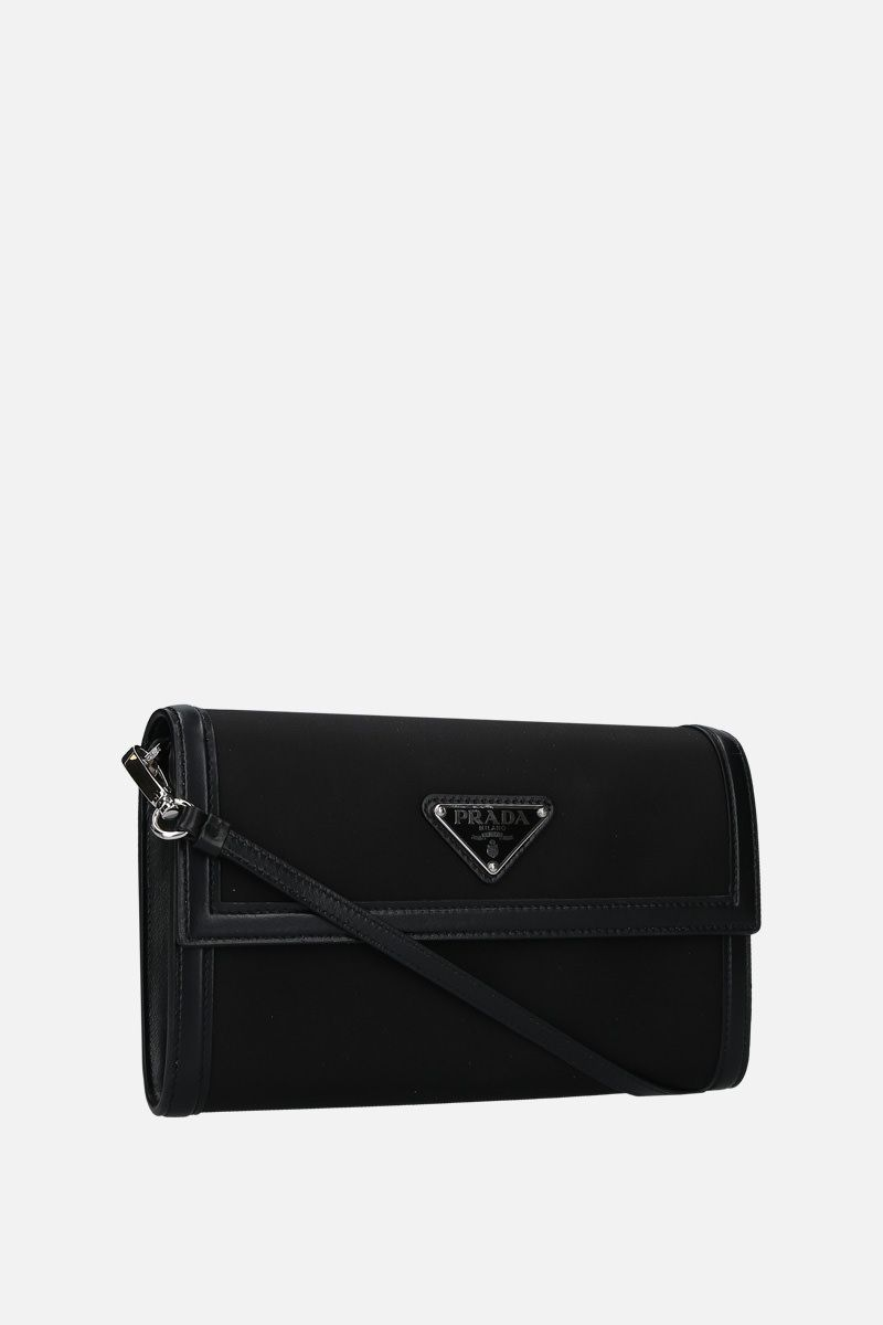 PRADA: nylon and smooth leather strap wallet Color Black_2