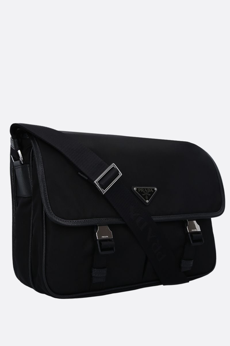 PRADA: Saffiano leather-detailed nylon crossbody bag Color Black_2