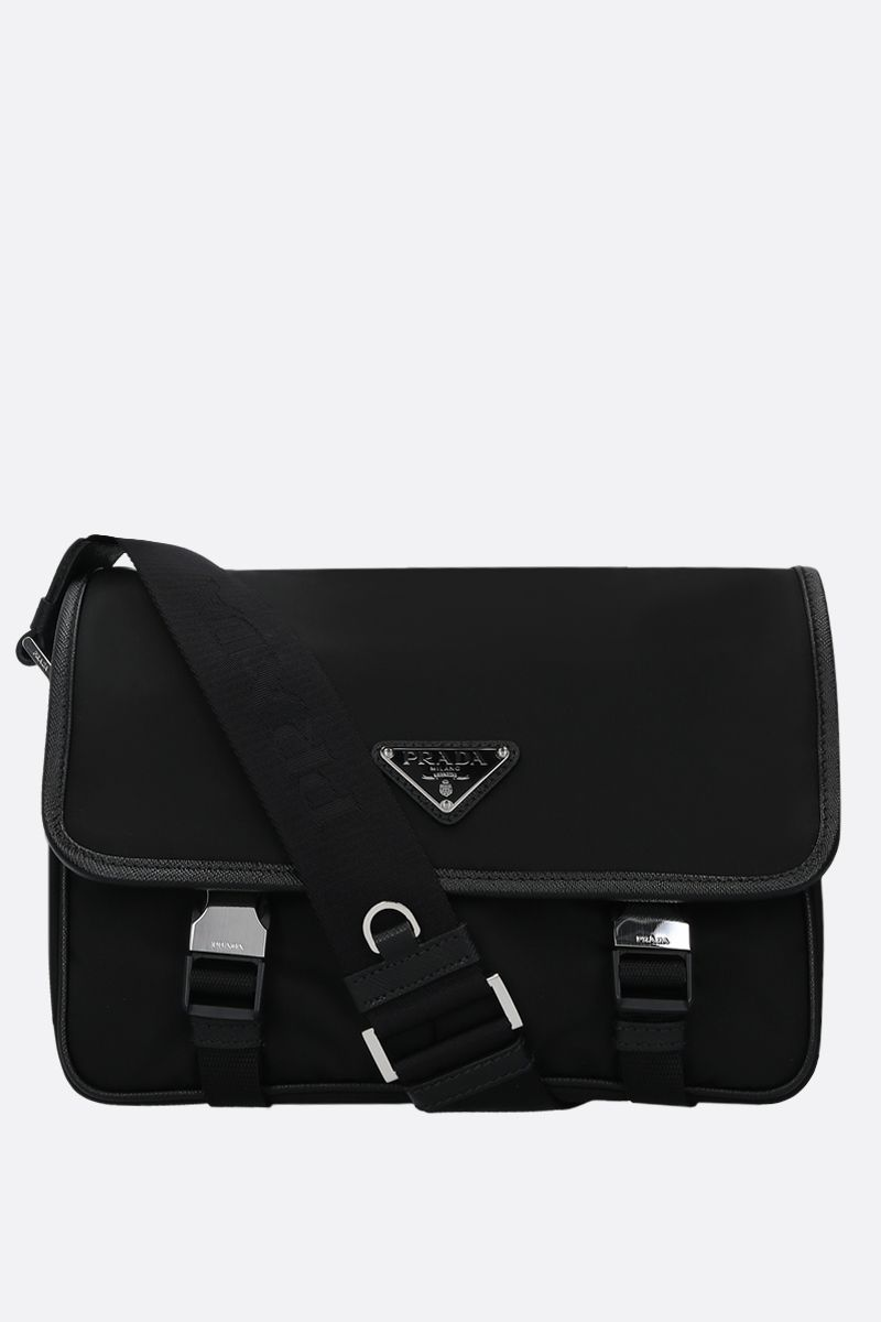 PRADA: Saffiano-detailed nylon messenger bag Color Black_1