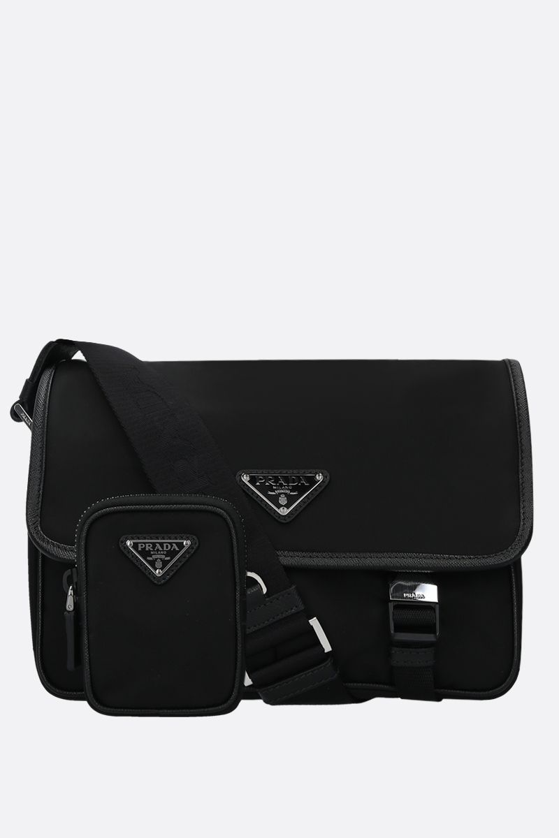 PRADA: Saffiano-detailed nylon messenger bag Color Black_2