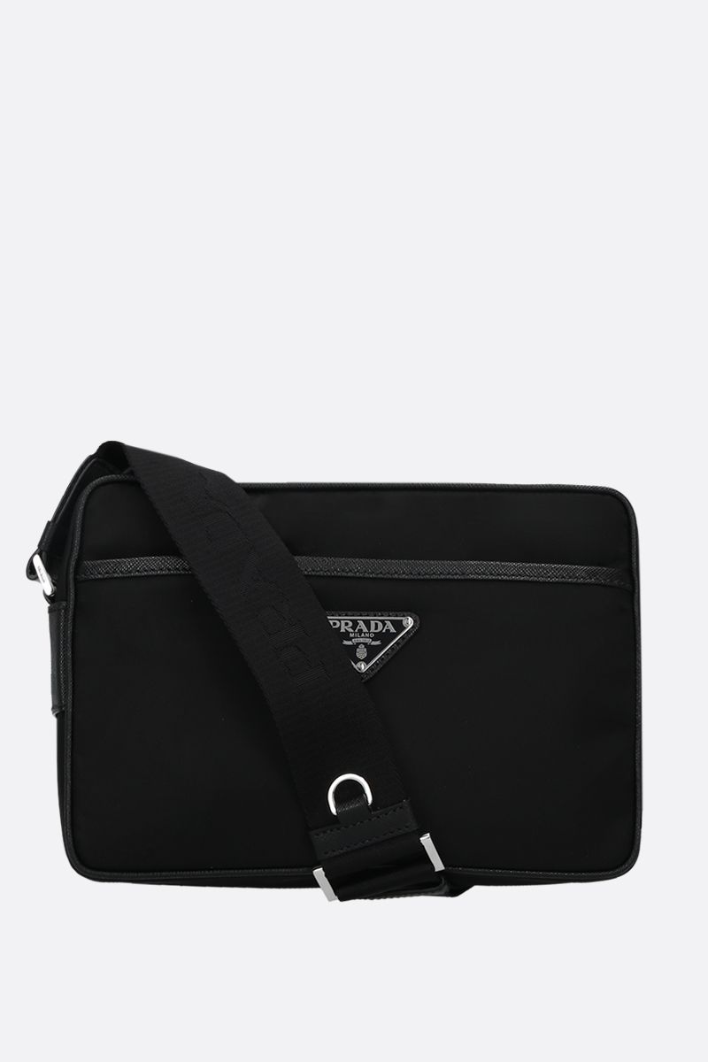 PRADA: nylon and Saffiano leather shoulder bag Color Black_1
