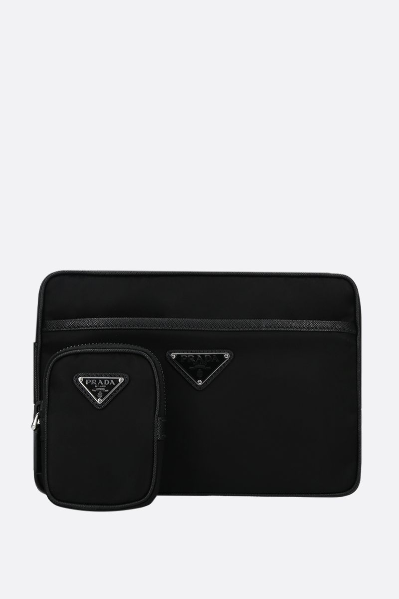 PRADA: nylon and Saffiano leather shoulder bag Color Black_2