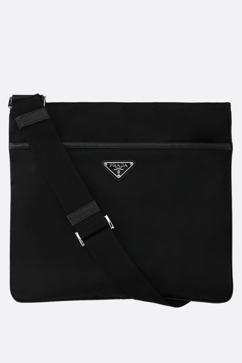 PRADA: nylon flat crossbody bag Color Black_1