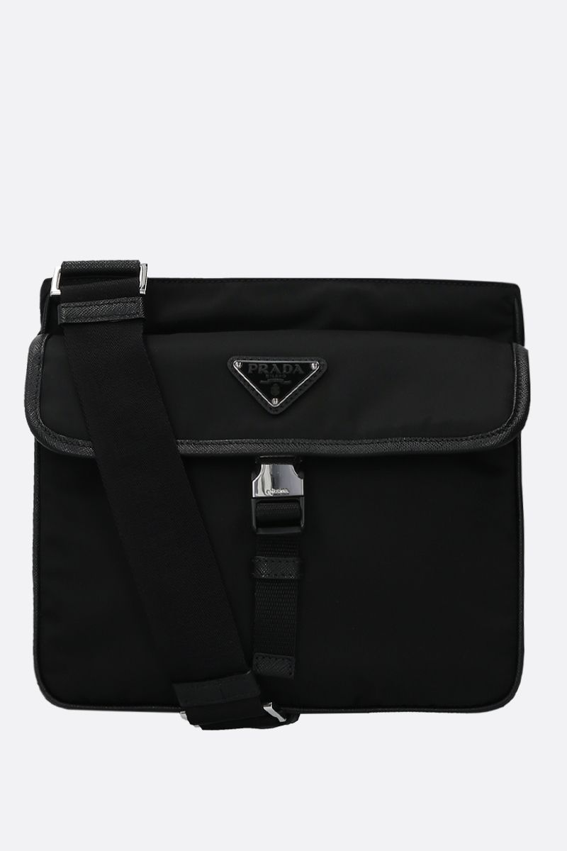 PRADA: Saffiano-detailed nylon crossbody bag Color Black_1