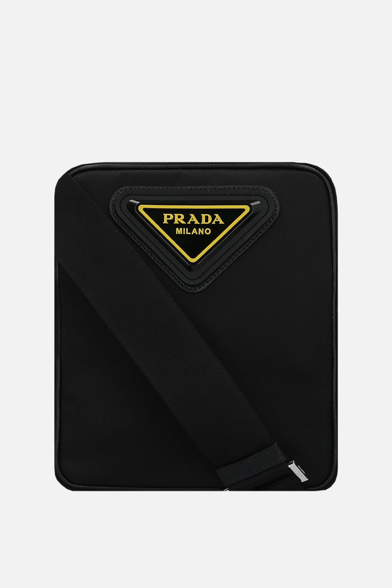 PRADA: Saffiano leather-detailed nylon crossbody bag Color Black_1