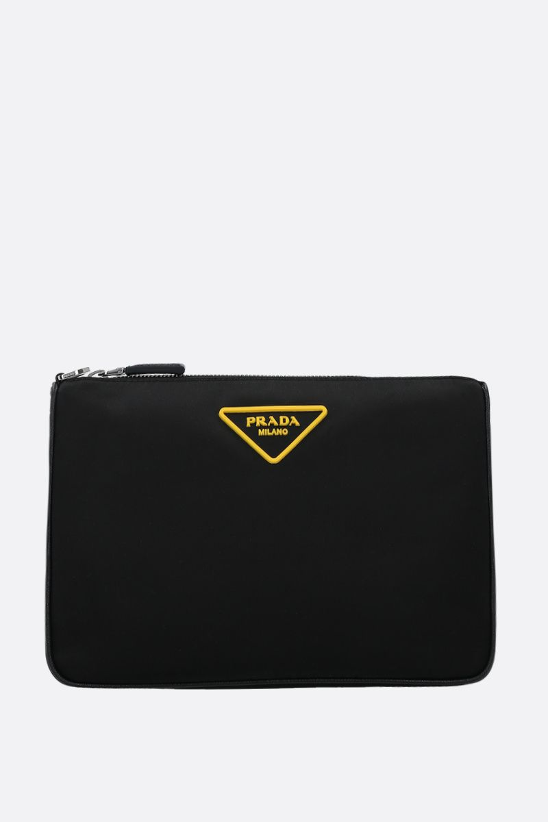 PRADA: Saffiano leather-detailed nylon strap clutch Color Black_1