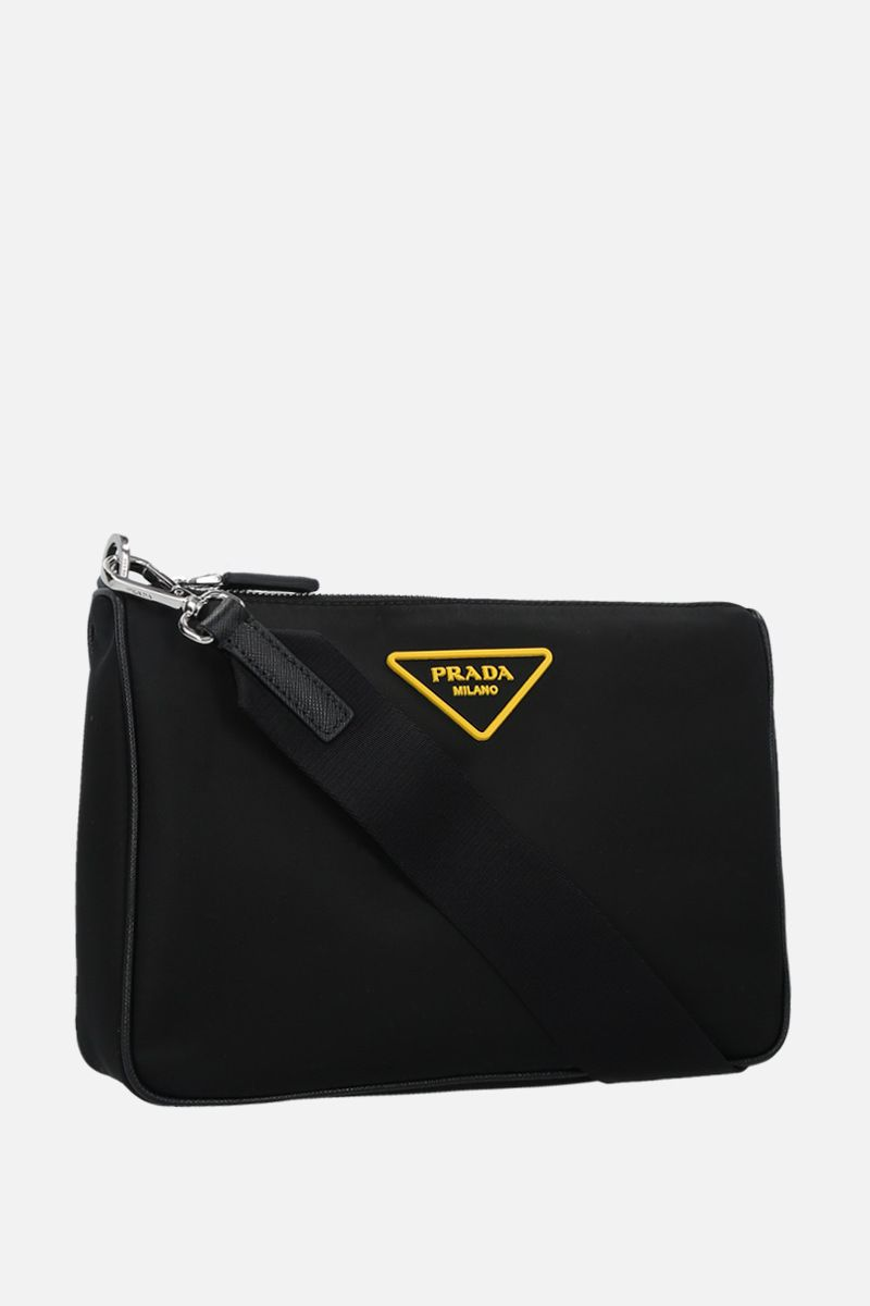 PRADA: Saffiano leather-detailed nylon strap clutch Color Black_2