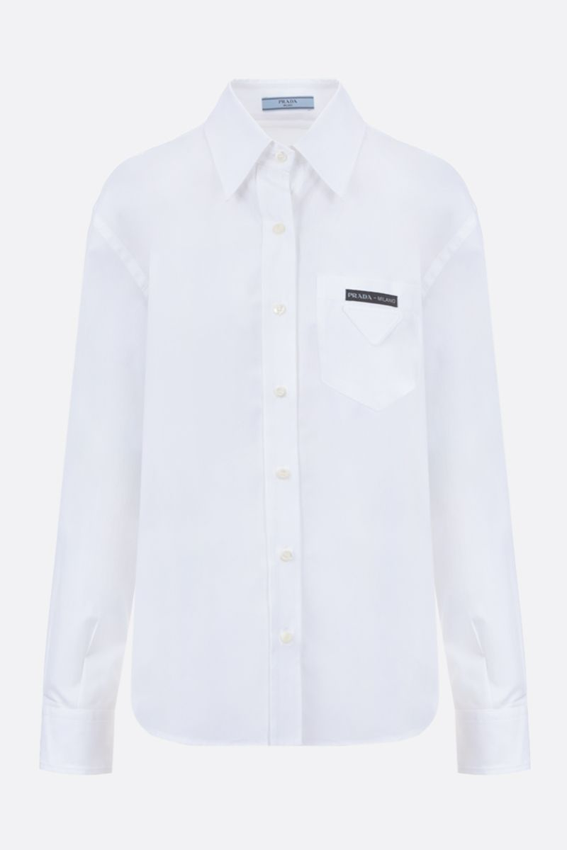 PRADA: logo-detailed cotton shirt Color White_1