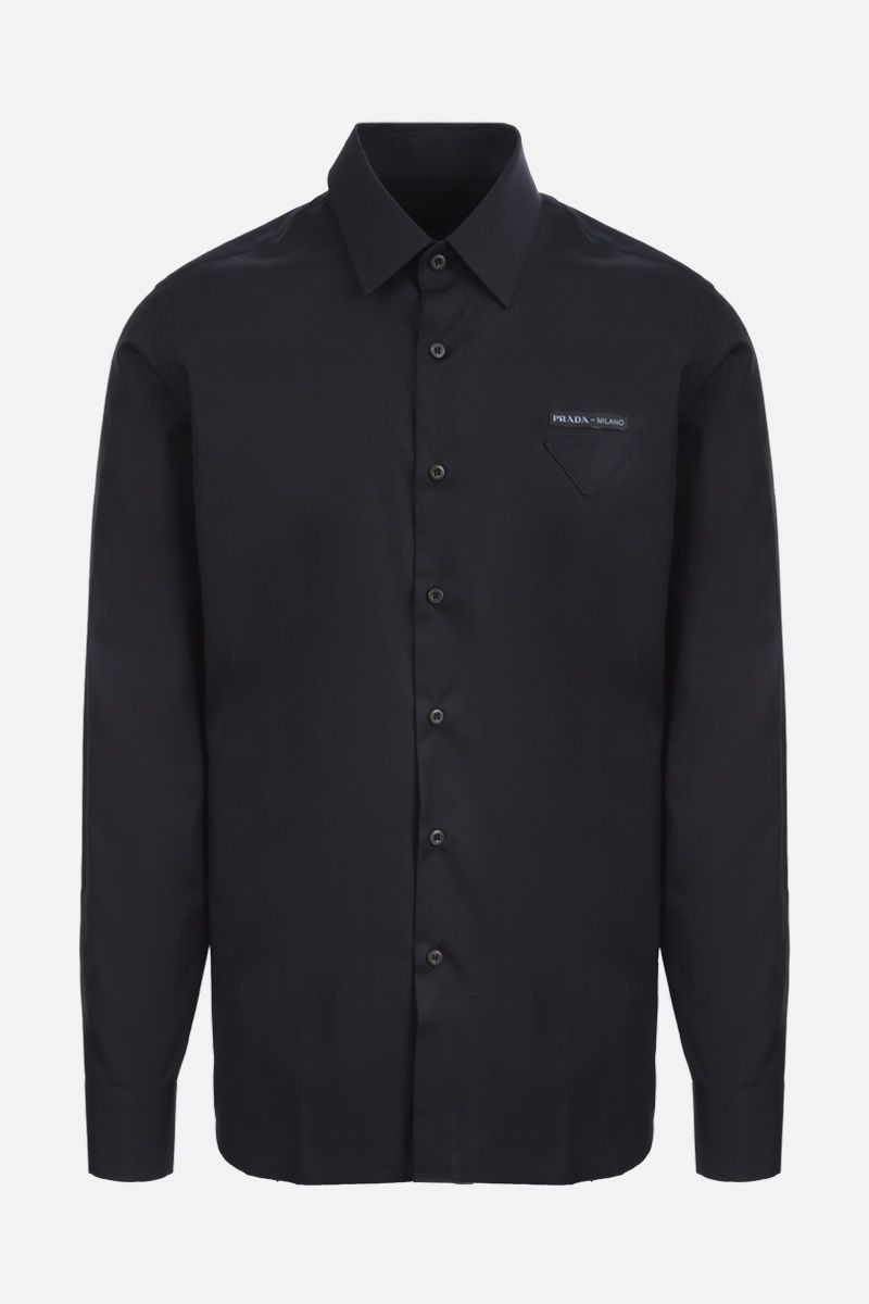 PRADA: logo-detailed cotton shirt Color Black_1