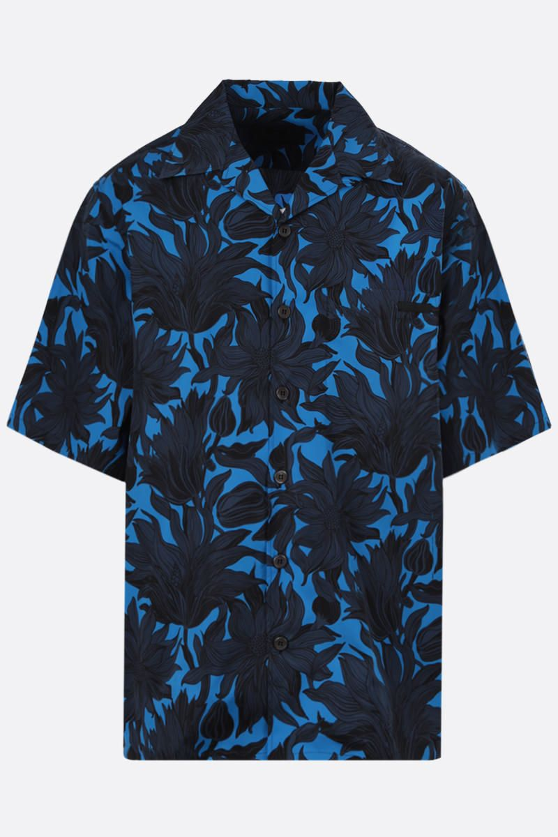PRADA: Sunflower print cotton bowling shirt Color Blue_1