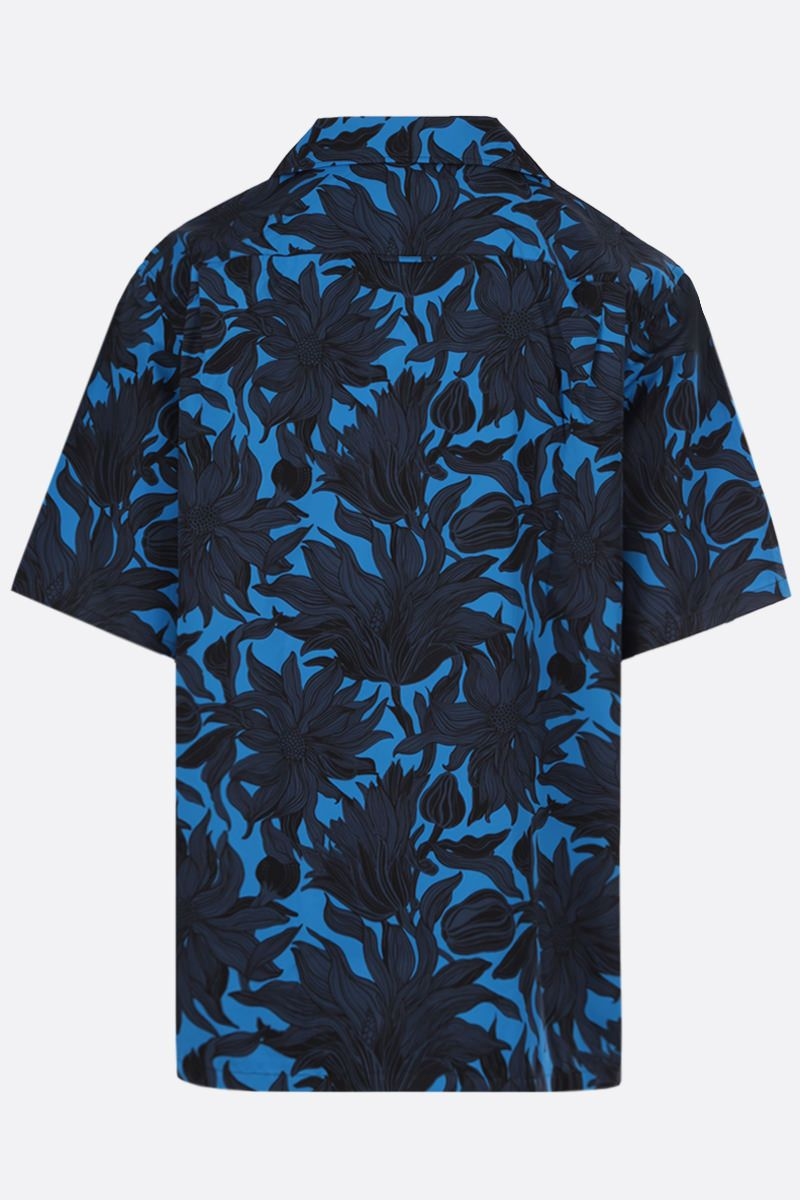 PRADA: Sunflower print cotton bowling shirt Color Blue_2