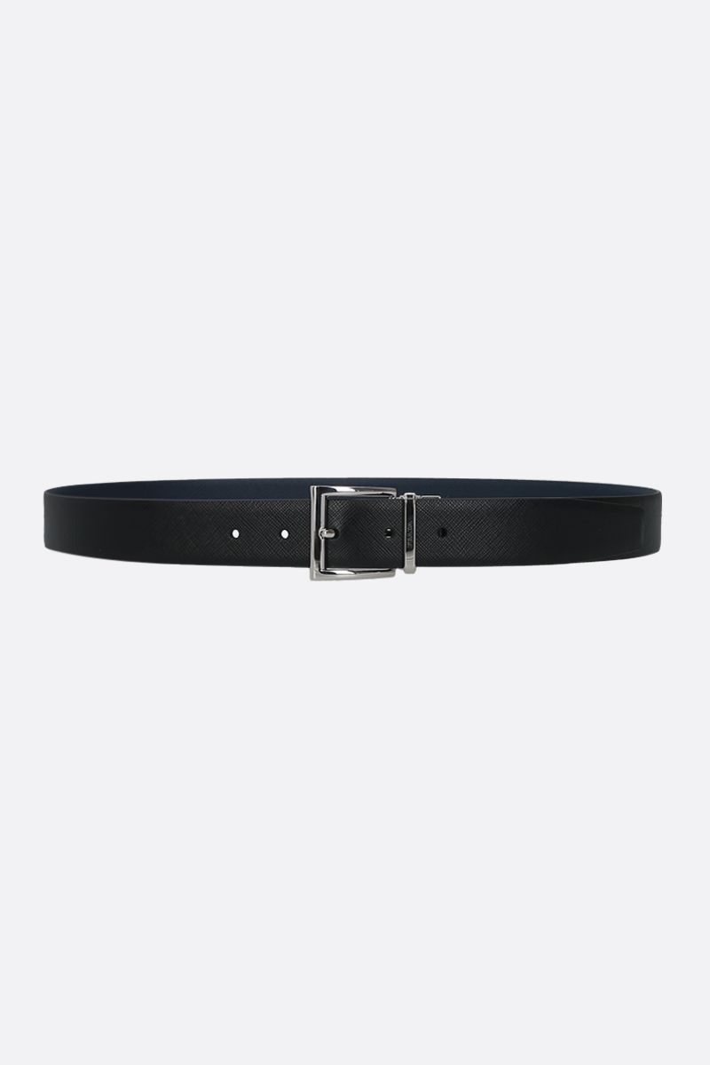 PRADA: Saffiano leather reversible belt Color Black_1