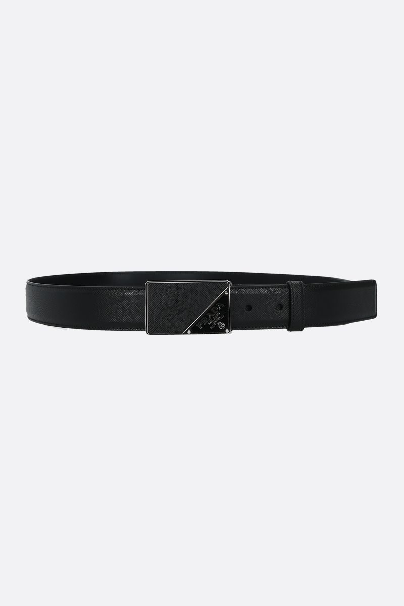 PRADA: Saffiano leather belt Color Black_1