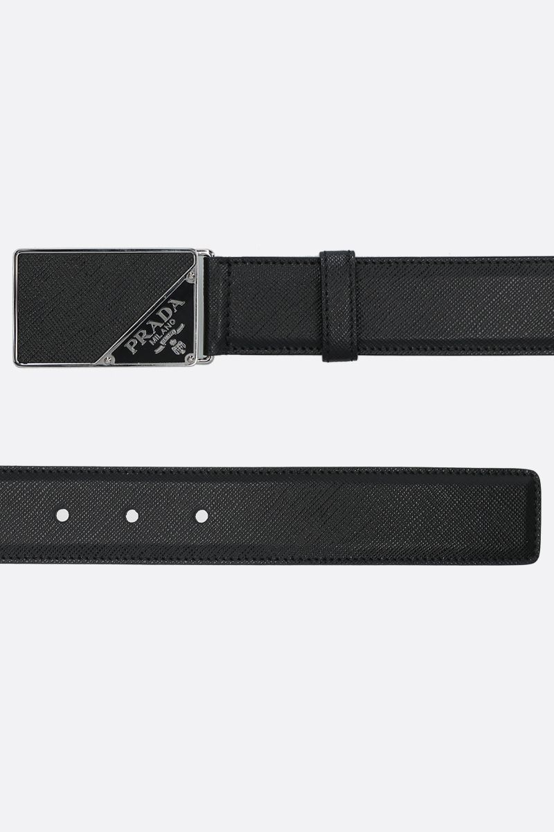 PRADA: Saffiano leather belt Color Black_2