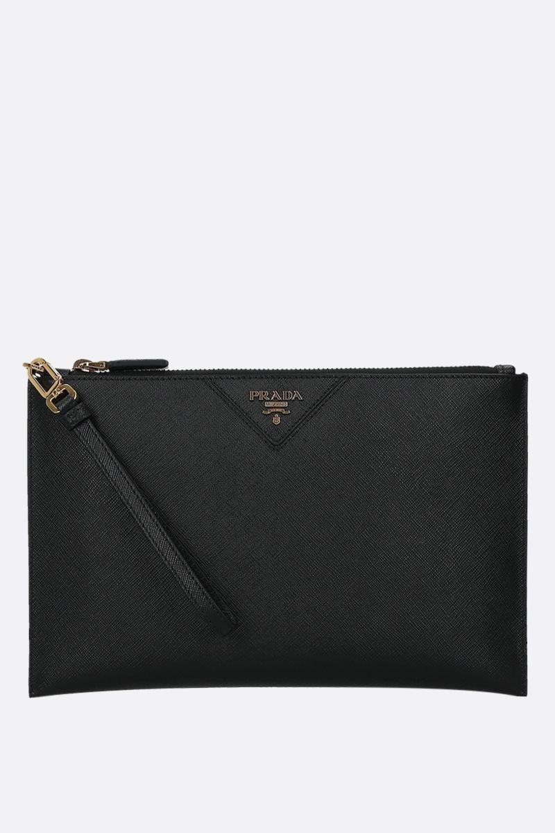 PRADA: logo-detailed Saffiano leather clutch Color Black_1