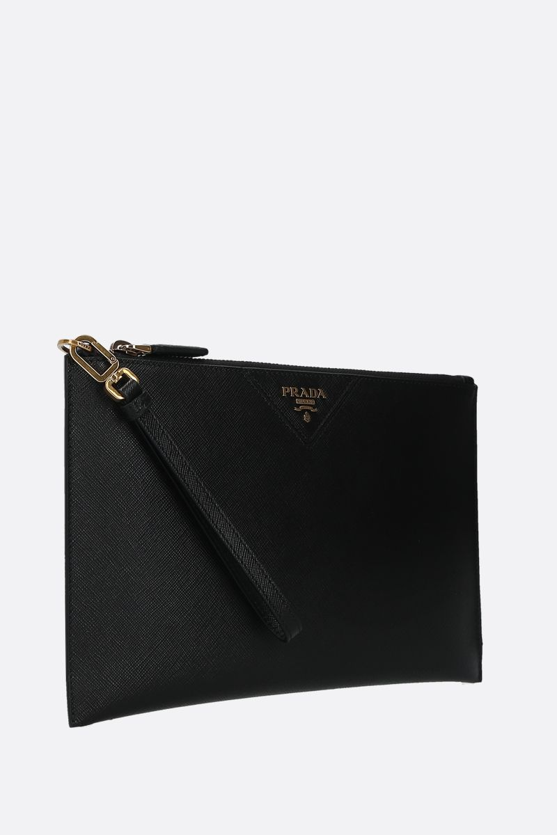 PRADA: logo-detailed Saffiano leather clutch Color Black_2