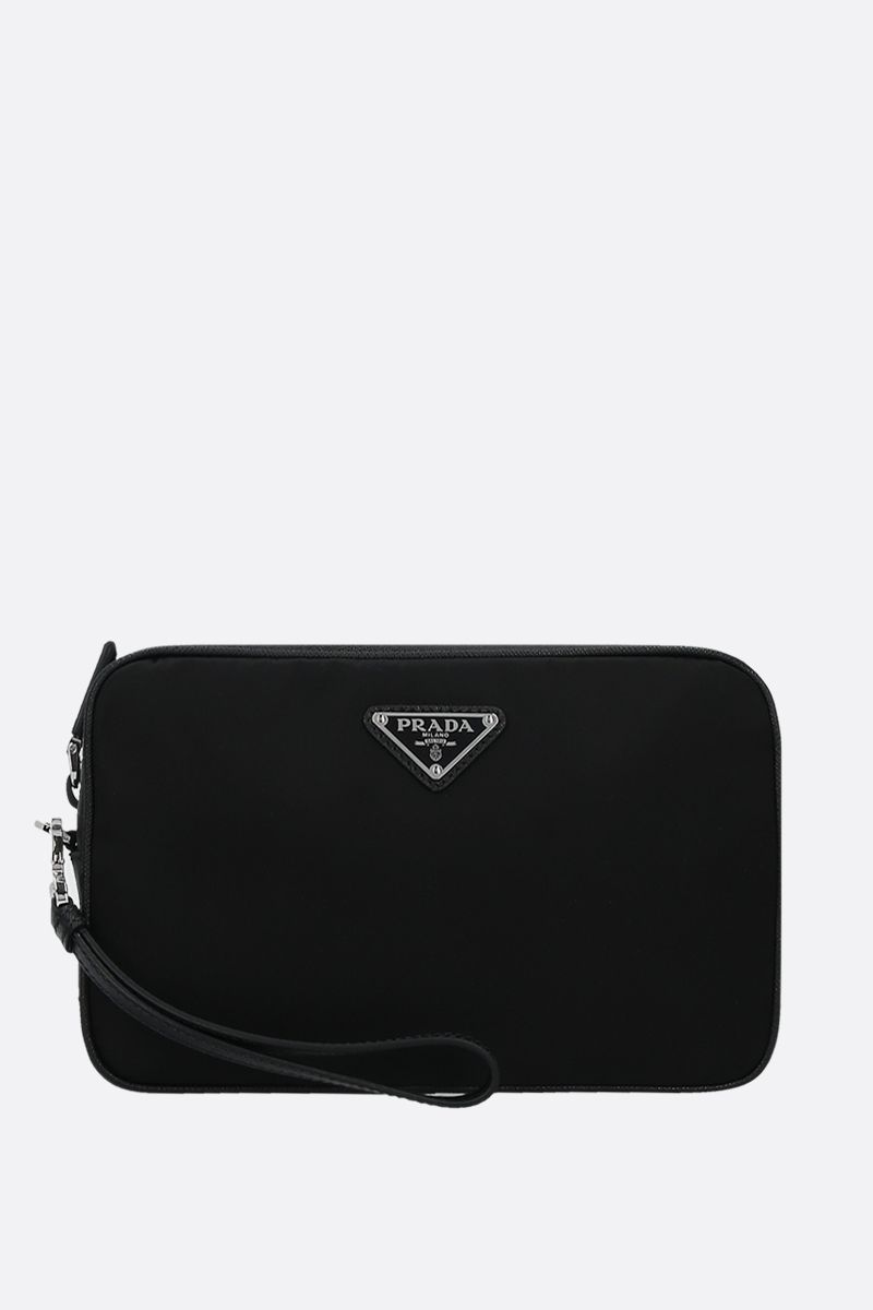 PRADA: nylon and Saffiano leather clutch Color Black_1