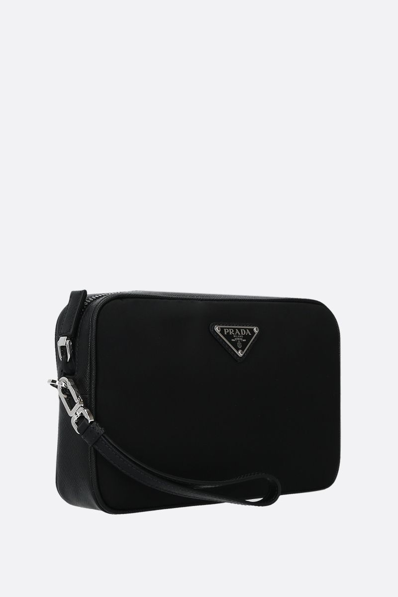 PRADA: nylon and Saffiano leather clutch Color Black_2