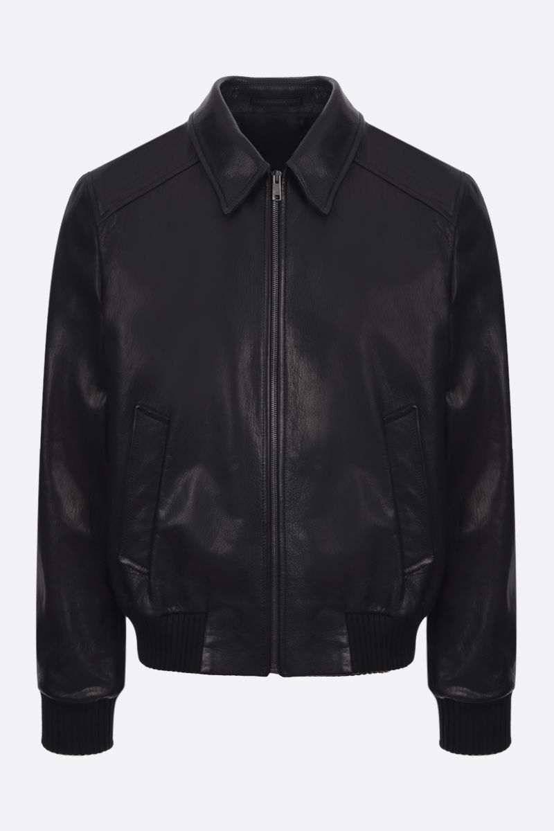 PRADA: grained nappa leather full-zip jacket Color Black_1