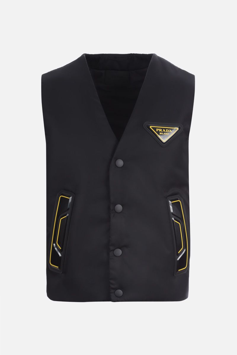 PRADA: logo-detailed re-nylon padded vest Color Black_1