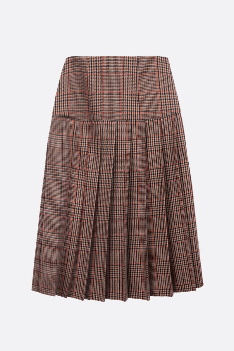 PRADA: prince of Wales wool cashmere blend pleated skirt Color Brown_2