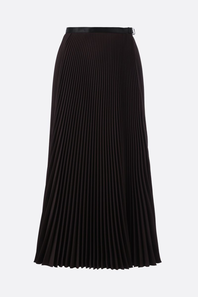 PRADA: buckle-detailed twill pleated skirt Color Brown_1