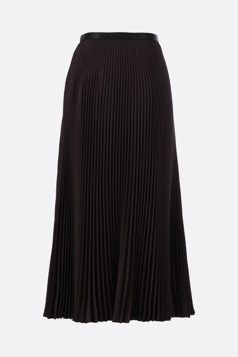 PRADA: buckle-detailed twill pleated skirt Color Brown_2