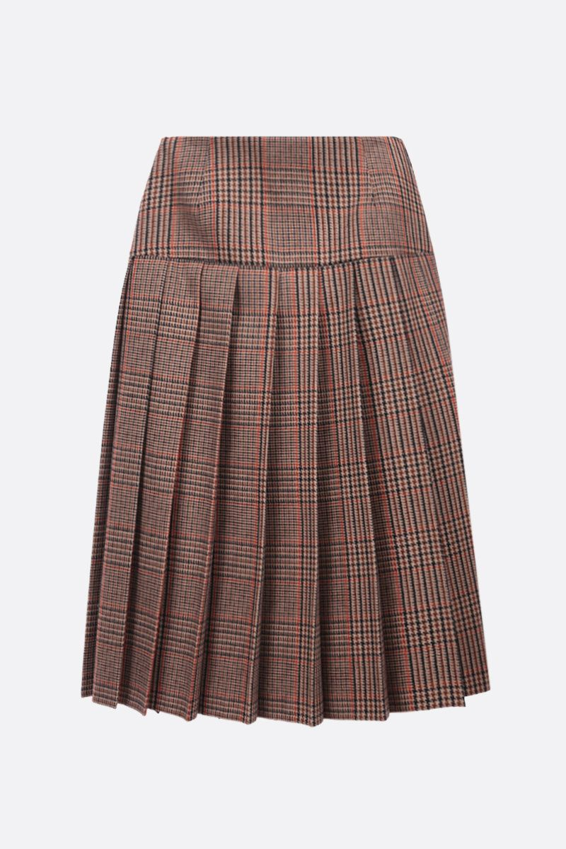 PRADA: prince of Wales wool cashmere blend pleated skirt Color Brown_1