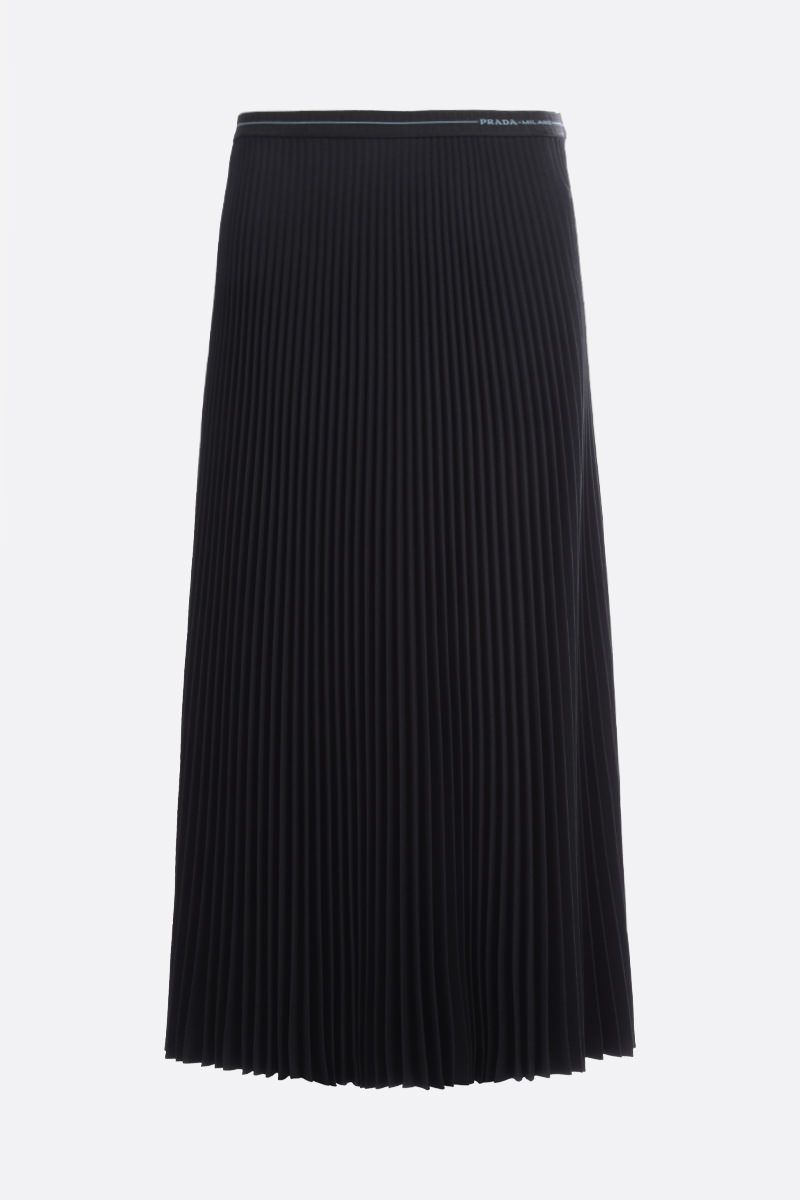 PRADA: twill pleated skirt Color Black_1