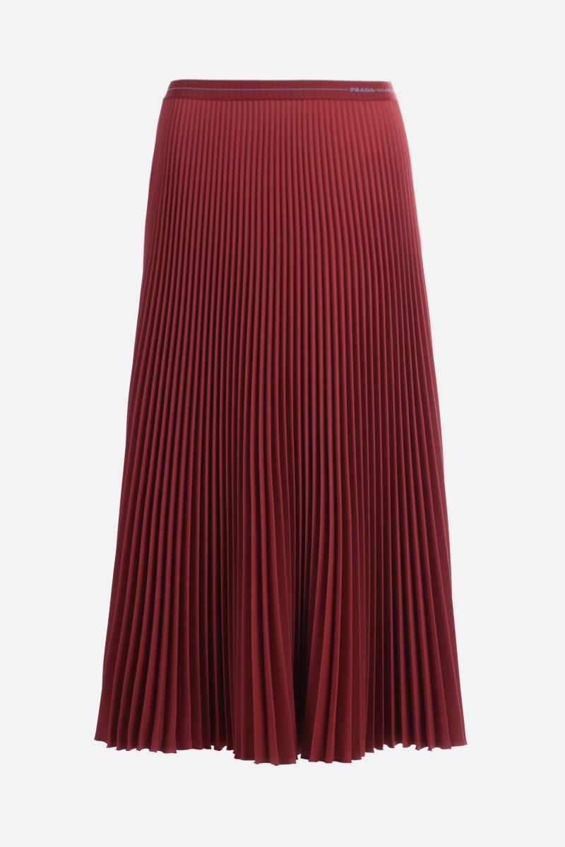 PRADA: twill pleated skirt Color Brown_1