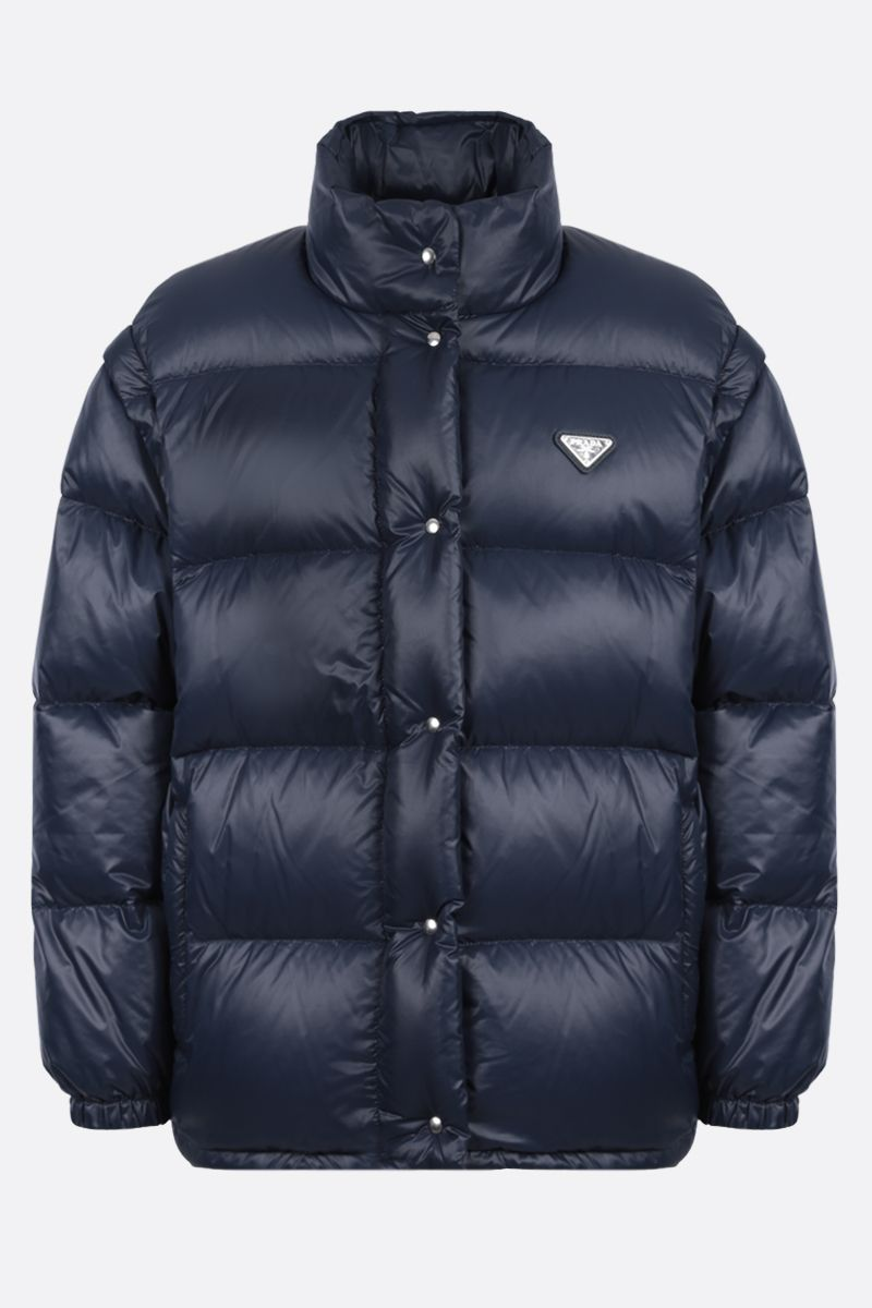 PRADA: logo-detailed oversized shiny nylon down jacket Color Blue_1