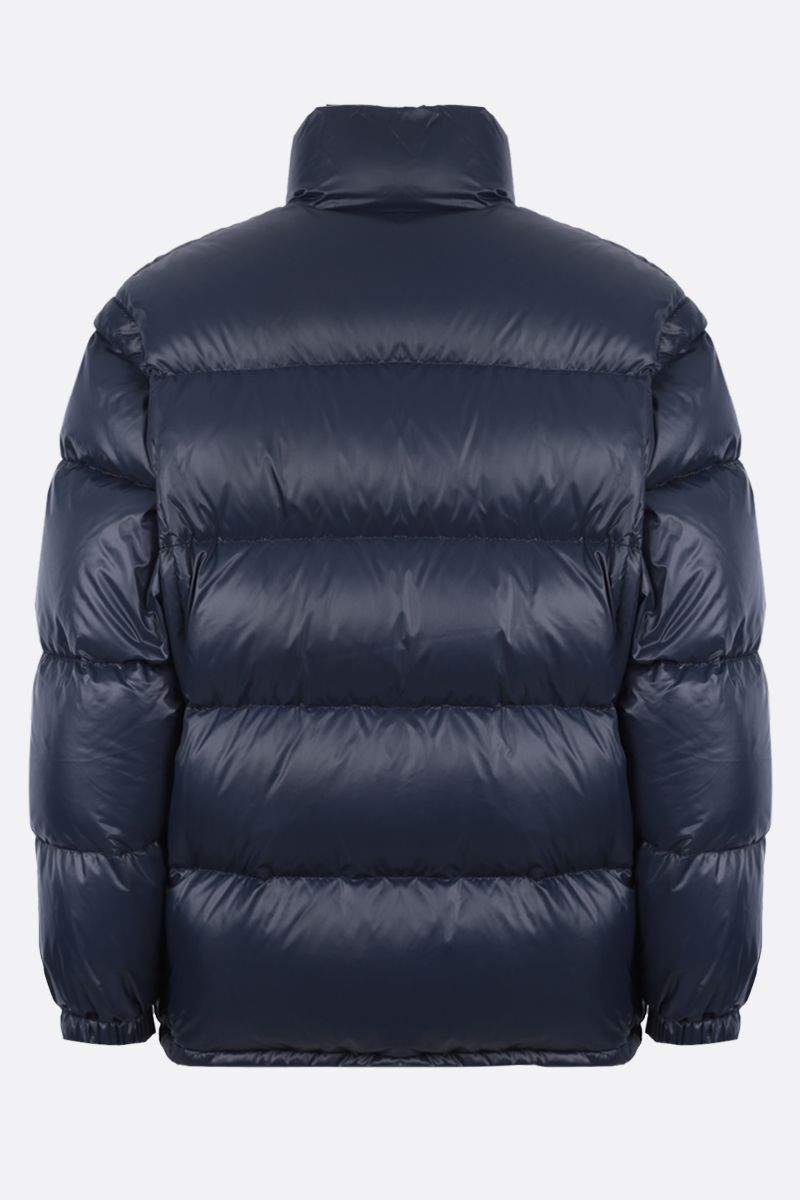 PRADA: logo-detailed oversized shiny nylon down jacket Color Blue_2
