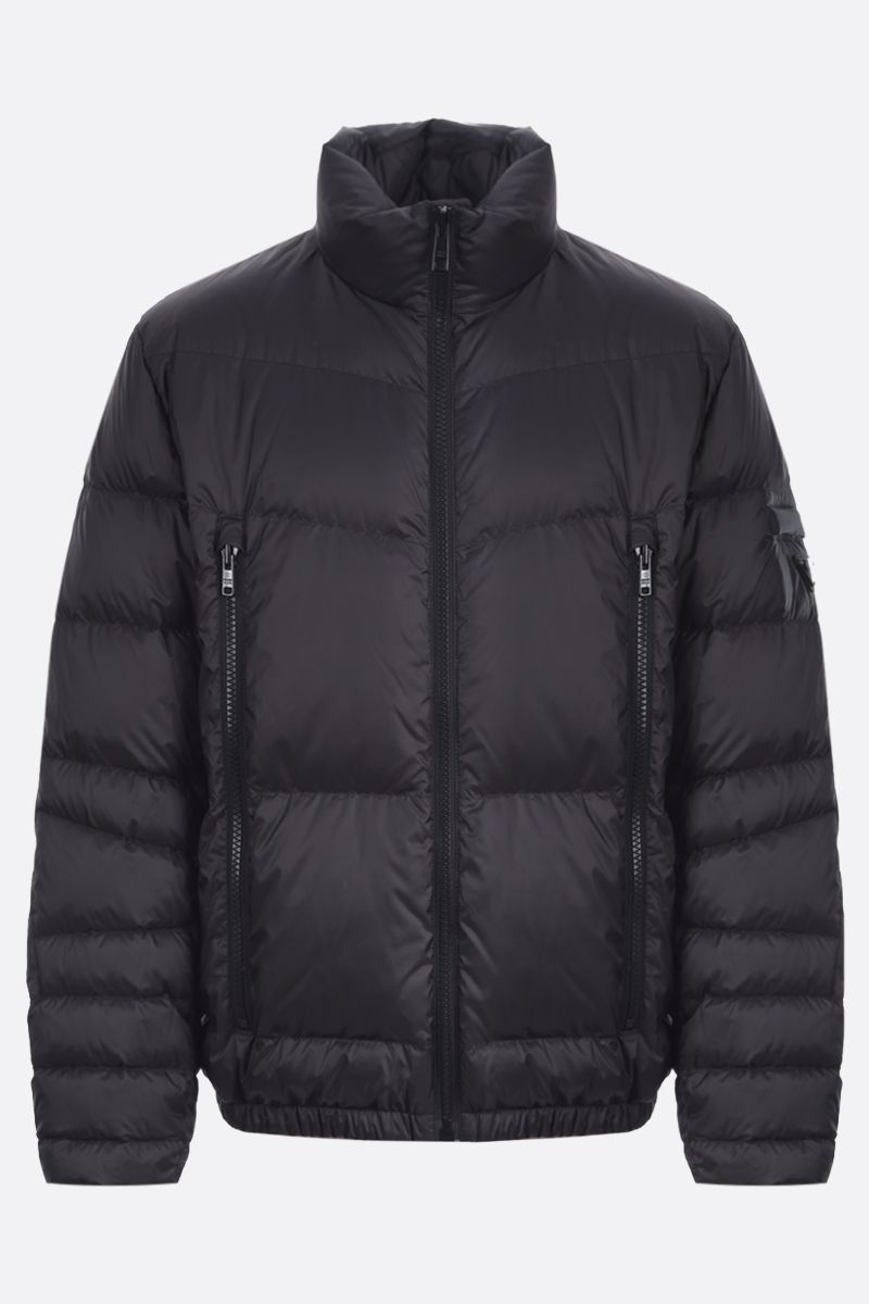 PRADA: logo-detailed nylon down jacket Color Black_1