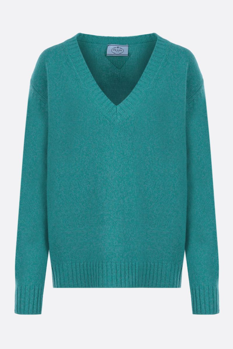 PRADA: loose-fit wool cashmere pullover Color White_1